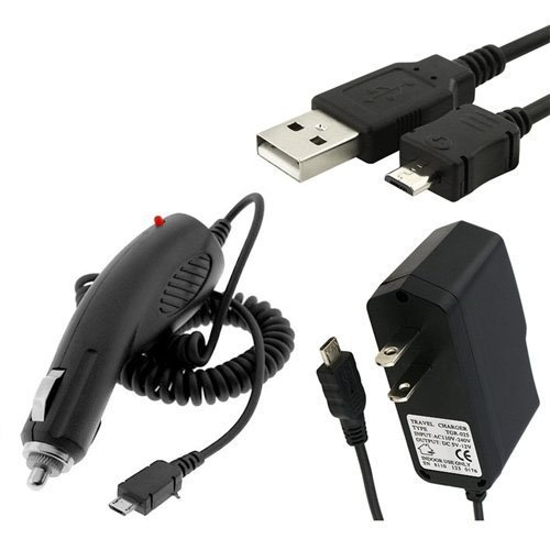 for LG Exalt (Verizon Wireless) Premium Combo Pack - Wall Charger + Car Charger + Micro USB Cable
