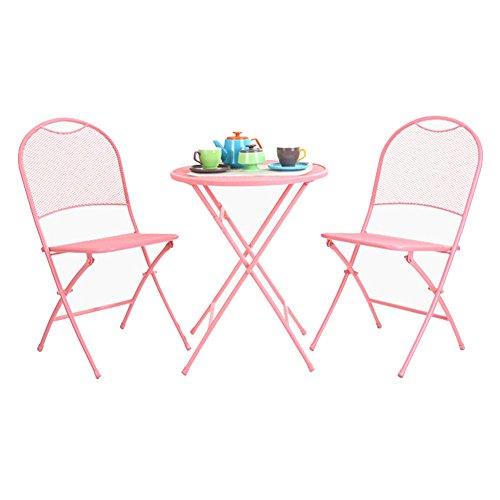 XUQIANG Moderno Humor Minimalista Plegable Mesa De Hierro Forjado Y Sillas Tres Sillas De Comedor Balcón Terraza Sillas Al Aire Libre Mesa pequeña (Color : Pink)