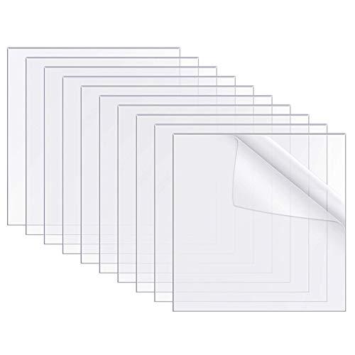 SUNSK Láminas de Acrílico Transparente Panel Acrílico para Marcos de Fotos Reemplazo de Vidrio Letreros de Mesa Caligrafía y Pintura 2 mm / 0,07 Pulgadas de Espesor 10 Piezas