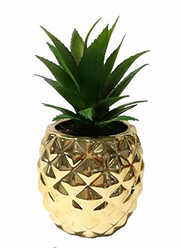 "Porcelain Potted Succulent 7.8"" Pineapple Plant Decor Gold Home Tabletop Office Desk Decoration"
