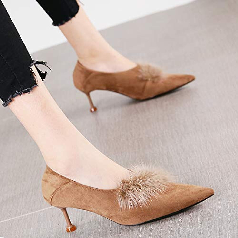 09da72be674010 HRCxue Pumps Pumps Pumps Sexy Mode Spitze Stiletto Heels Damen Temperament  Wildleder tiefen Mund Schuhe