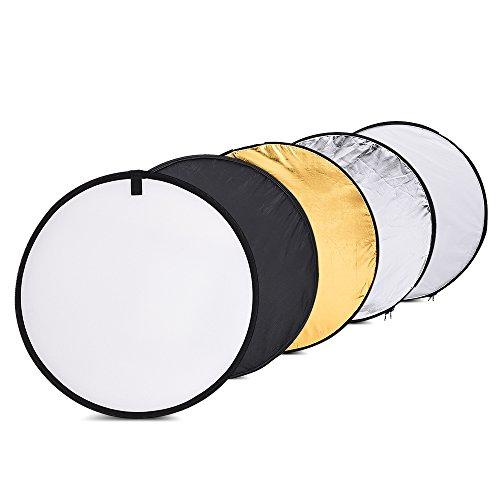 Andoer 60cm 5en1 Reflector Portatil Plegable(Oro, Plata, Blanco,Negro,Transparente)