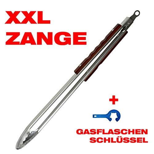 CAGO Premium XXL Grillzange extra lang 56 cm BBQ Edelstahl, inkl. Gasflaschenschlüssel - Set