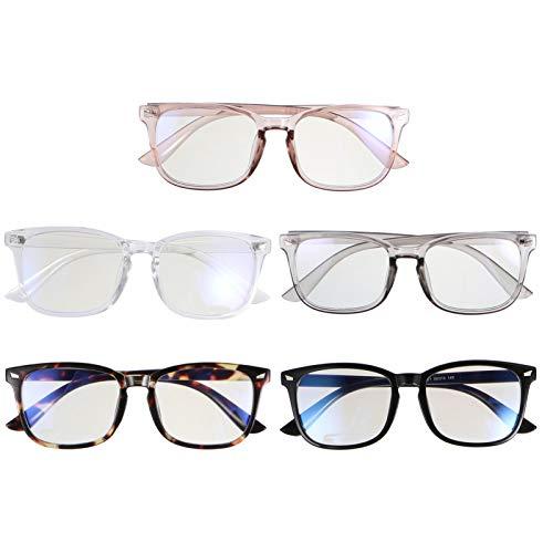 SOLUSTRE 5 Unidades de Gafas de Bloqueo de Luz Azul Marco Cuadrado Gafas Ópticas Retro de Lectura Gafas de Ordenador Gafas de Protección para Los Ojos para Hombres Y Mujeres (Estilo Mixto)