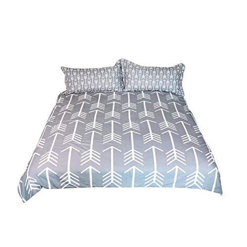 QNZOR Duvet Cover Sets Pillowcases Bedding Super King Arrow Print Polyester Breathable 2 pillowcases with Zipper Boys Girls Home Decoration 102.4 x 90.6 inch