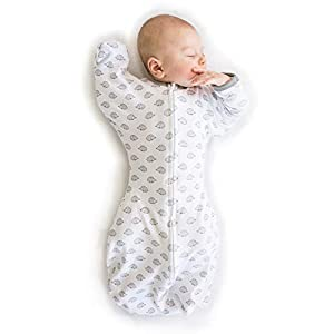 SwaddleDesigns Transitional Swaddle Sack with Arms Up Half-Length Sleeves and Mitten Cuffs, Tiny Hedgehogs, Medium, 3-6mo, 14-21 lbs (Parents' Picks Award Winner, Easy Transition with Better Sleep)