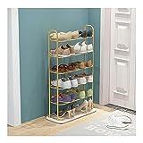 Rack de zapatos de hierro dorado con fondo de mármol, gabinete de zapatos para el hogar de 5 capas, rack de almacenamiento de gran capacidad 50 * 22 * 83 cm ( Color : White marble+golden rack )