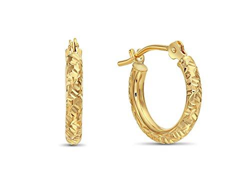 14k Gold Hand Engraved Diamond-cut Round Hoop Earrings, (0.5 inch Diameter) (yellow-gold)