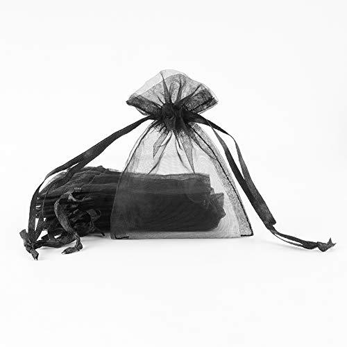 SumDirect 100piezas 7x9cm Transparente Bolsas de Organz Pequeñas Cordón Bolsas Joyas de Regalo Boda Favores