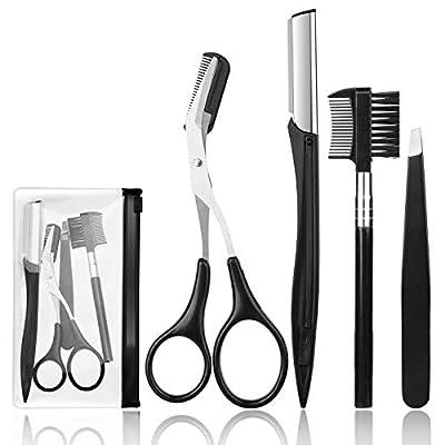 4 Pcs Eyebrow Trimming Kit Eyebrow Grooming Set with Tweezers Scissors Eyebrow Razor and Eyebrow Brush for Women and Men
