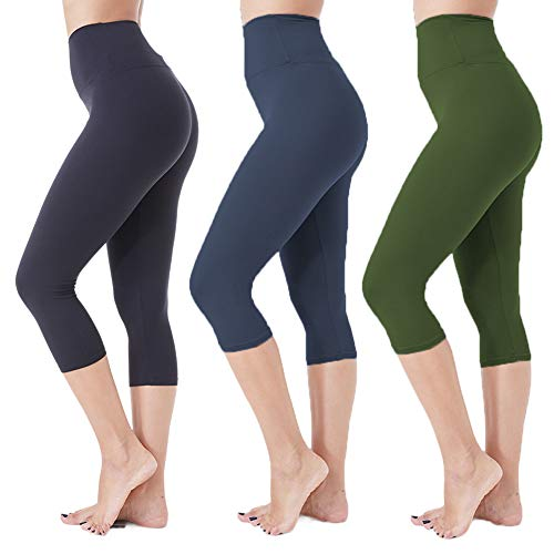 High Waisted Soft Capri Leggings for Women-Tummy Control and Elastic Opaque Slim-One/Plus Size 20+Design (Black+Navy+Olive, Plus Size (US 12-24))