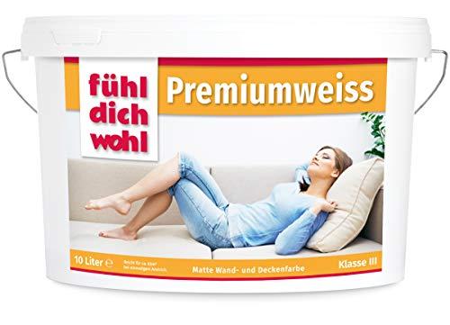 Fühl Dich Wohl Wandfarbe Premiumweiss 10l, matte Wand Farbe weiß, hohe Deckkraft