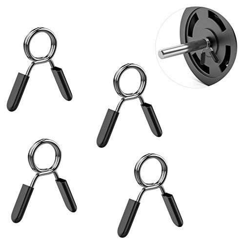 MoKo - Juego de 4 pinzas de acero de 28 mm para ejercicios de acero con cierre de resorte, accesorios de entrenamiento para gimnasio, levantamiento de pesas, yoga, entrenamiento, color negro
