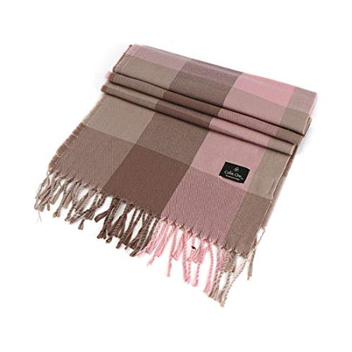 Celtic Ore Woollens Check Design Scarf, Cream, Brown, Pink Colour