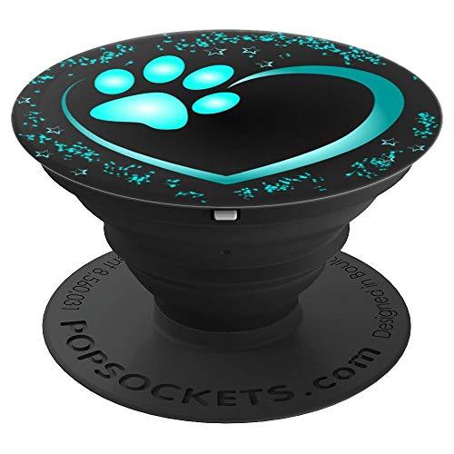 Herz mit Pfote von Hund oder Katze - PopSockets Ausziehbarer Sockel und Griff für Smartphones und Tablets