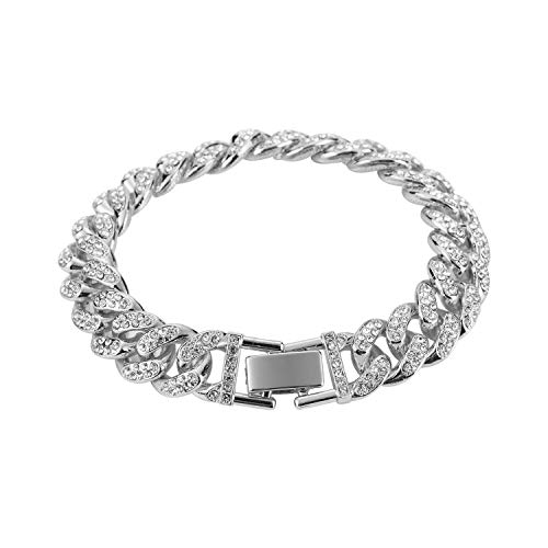 Aiyo Fashion Cuban Link Bracelet 18k Gold Plated Stainless Steel Bracelets Iced Out with Bling Rhinestones Men Bracelets Women Bracelets (Silver)