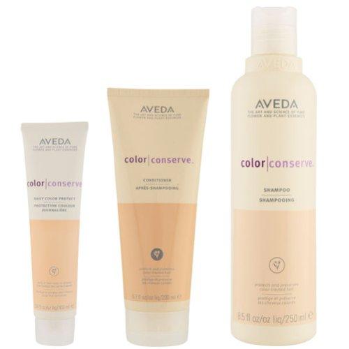 Aveda Champú Colour Conserve Trio- 250 ml, acondicionador 200 ml y protección diaria del color 100 ml