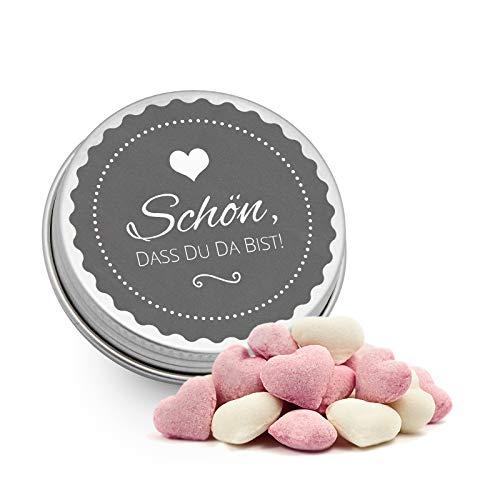 DeinBonbon 20x Gastgeschenk Mini Dose DIY Süßigkeiten und Stickerbogen | Hochzeit, Geburtstag, Taufe & Kommunion (Anthrazit, Himbeer Joghurt Herzen Bonbons)