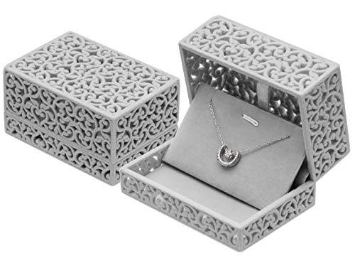 POKOFO Hollow Velvet Jewelry Necklace Box Chain Pendant Display Organizer Gift (Gray)