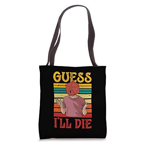 Guess I'll Die D20 Dice Head Vintage Retro Tabletop Game Tote Bag