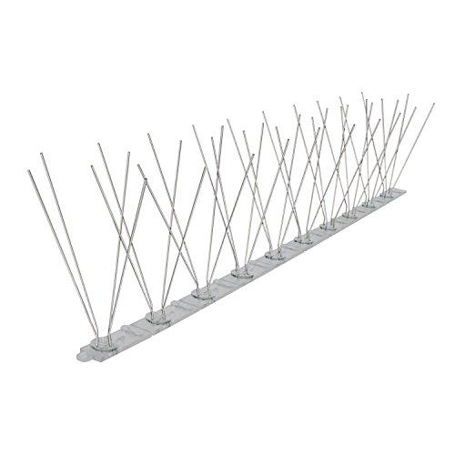 4x Kunststoff Leisten 2 reihig mit 60 Edelstahl Taubenabwehrspießen