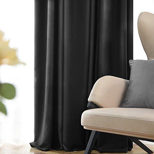 Fmfunctex - Cortinas opacas negras para recámara de 213 cm con aislamiento térmico para la habitación del hombre, 2 unidades
