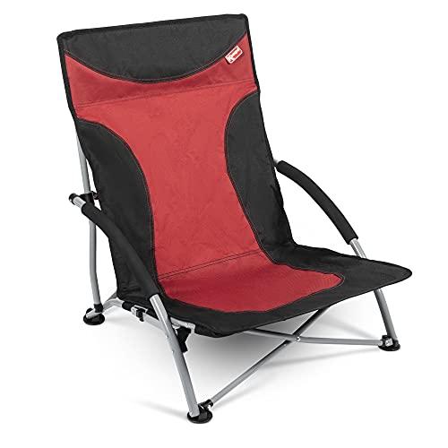 Chaise de plage confortable Chaise pliante, ultra stable jusqu'à 100 kg, 600D Rip Stop Tissu solide, pieds Extra Large pour sol, doux replié seulement 15 x 18 x 77 cm, couleur : rouge/gris