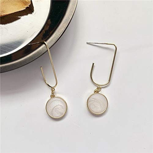 Xi-Link Earrings, S925 Silver Needles Simple Seashell Drip Oil Geometric Round Earrings, Cold Light Ear (Color : Ear Studs)