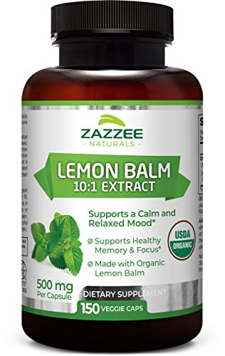 Zazzee USDA Organic Lemon Balm Extract, 150 Vegan Capsules, 5000 mg Strength, Potent 10:1 Extract, USDA Certified Organic, Non-GMO and All-Natural