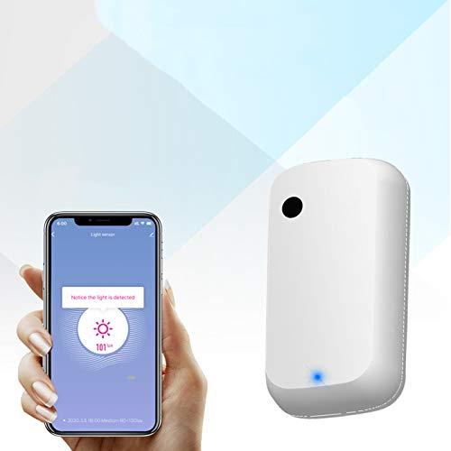 JINQII Sensor de luz inteligente WiFi Detección de brillo Lux Medición AI Enlace automático Dispositivo inteligente para el hogar, Tuya/Smart Life APP Control