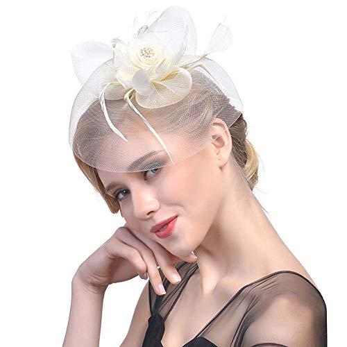 HFJ&YIE&H Fascinateurs Haut-de-Forme pour Femme Plume Gaze Filet de Maille Pince à Cheveux Thé Fête Mariage Couvre-Chef Cocktail Kentucky Derby Bandeau Chapeaux Fedora,F