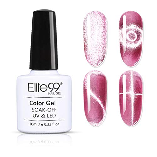 Elite99 Smalto Semipermanente per Unghie in Gel UV LED,Cristallo Luce Della Neve Cat Eye Effetto Unghie Soak Off Starter Primer in Gel UV LED Salon Manicure 10ML -...
