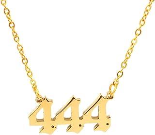 Angel Number Necklace for Women Men Gold Plated Dainty Angel Number Necklace 111 222 333 444 555 666 777 888 999 Pendants ...
