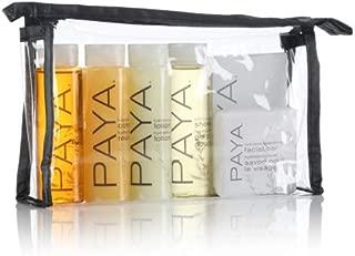 PAYA Bottle & Soap Amenity Kit, clear vinyl bag with black sewn trim & black zipper