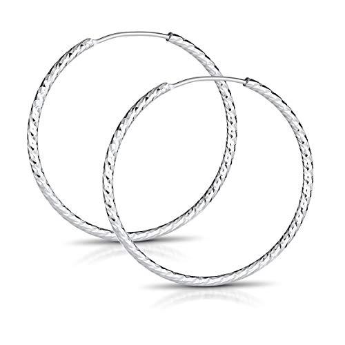 MATERIA Ohrringe Creolen Silber 925 - Silbercreolen Kreolen Ringe 40mm schmal glitzer diamantiert in Etui SO-140