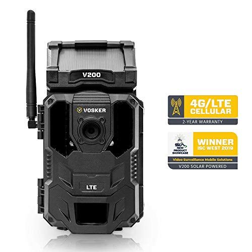 Vosker V200 LTE Wireless Outdoor Security Camera | Built-in Solar Panel | Outdoor Weatherproof, No Wi-Fi Required | Motion Activated HD Surveillance Cameras | Mobile Phone Push Notifications