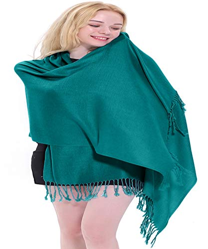 CJ Apparel Teal Green Solid Colour Design Nepalese Tassels Shawl Scarf Wrap Pashmina Seconds NEW(Size: One Size)