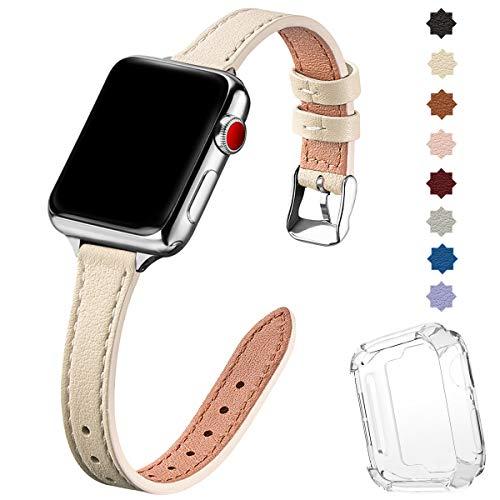 SUNFWR Kompatibel mit Apple Watch Armband 38 mm 40 mm 42 mm 44 mm, Ersatz aus echtem Lederband, schmales und dünnes Armband für die iwatch Serie 6/5/4/3/2/1,SE(38mm 40mm,Elfenbein Weiß&Silber)