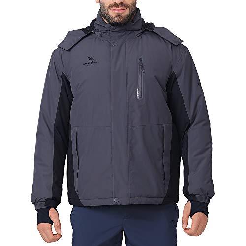 CAMEL CROWN Ski Jacket Men Waterproof Warm Cotton Winter Snow Coat Mountain Snowboard Windbreaker Hooded Raincoat Gray XL