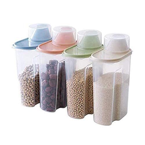 FASEY 2.5L Grande Cereal Cucina Scatole Grano Serbatoio Sealed 4pcs Prova di umidità Food Storage Container