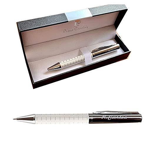 Bolígrafo Personalizado Grabado con nombre o texto. Boligrafo para regalo metal y blanco