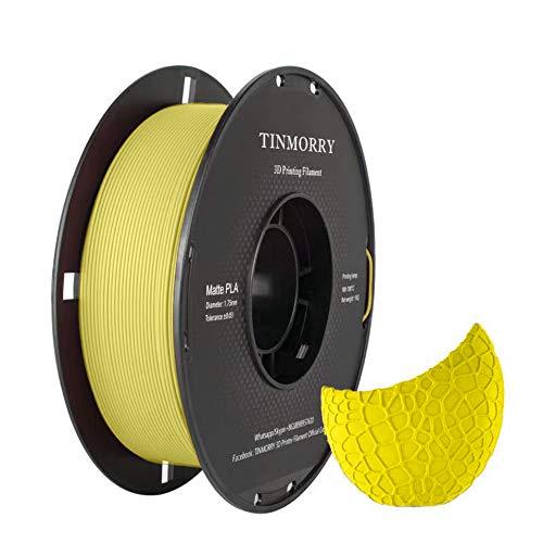 Matte PLA Filament 1.75 mm, TINMORRY 3D Drucker Filament 1 KG 1 Spool, Matt Yellow