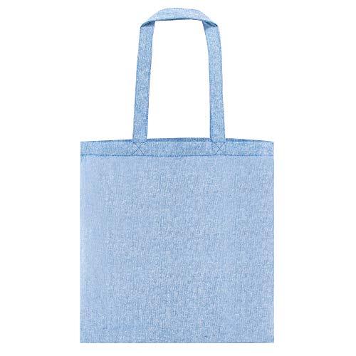 My Custom Style Bolsas de Compras algodón veteado Azul 140gr 38x42cm Asas 70cm