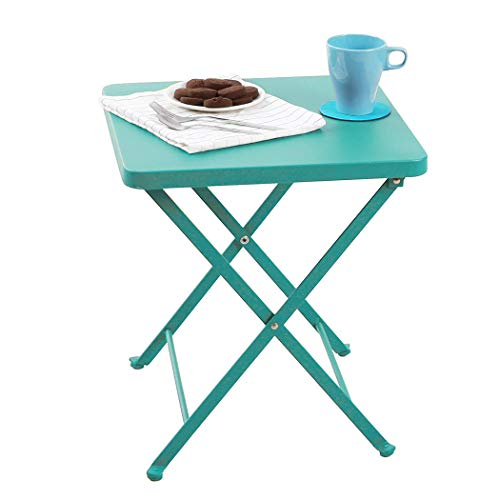 PHI VILLA Folding Side Table, Foldable Coffee Table, Outdoor Garden Table, Small Square Patio Table - Turquoise