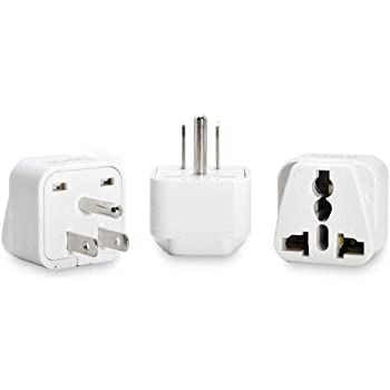 Ceptics USA, Canada Universal Travel Plug Adapter (Type B) -Convert Europe, UK, India, Australia to American Socket - Round to Flat Pin - 3 Pack (GP-5-3PK)