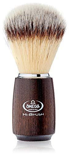 """Omega 46712 - Pennello da Barba in Fibra""""Hi-Brush"""", Marrone Scuro"""