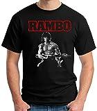 Desconocido 35mm - Camiseta Niño Rambo - Stallone - Cine 80's - EGB - Negro - Talla 7-8 años