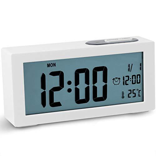 Jcobay Alarm Clocks Bedside Non Ticking Battery Operated Digital Clock...