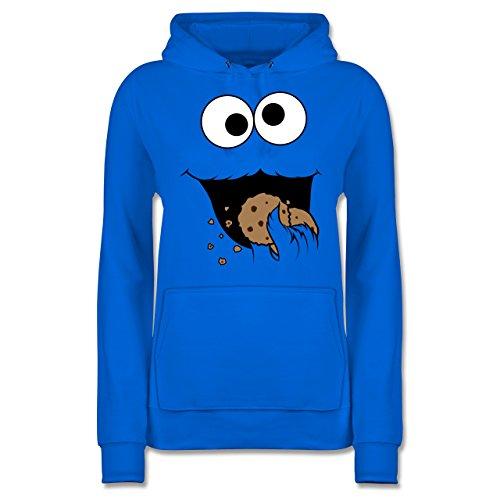 Karneval & Fasching - Keks-Monster - S - Himmelblau - Pullover Royalblau - JH001F - Damen Hoodie und Kapuzenpullover für Frauen