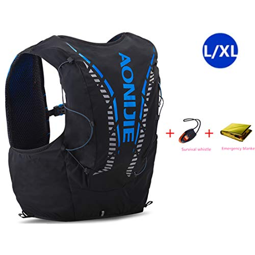 AONIJIE 12L Profesional Ligero Mochila de hidratación Superior Chaleco para Trail Running Ciclismo Marathoner para Hombre Mujer (Negro-L/XL)